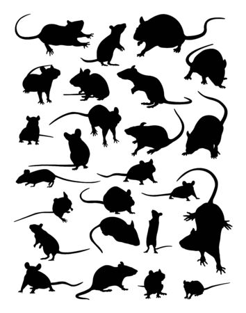 Mouse silhouette in black and white. Illustration