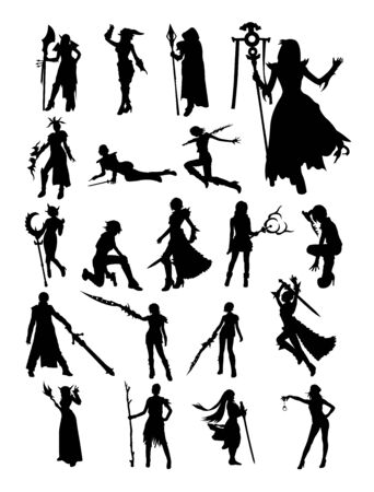 Cosplay detail silhouette. Good use for symbol, logo, web icon, mascot, sign, or any design you want.