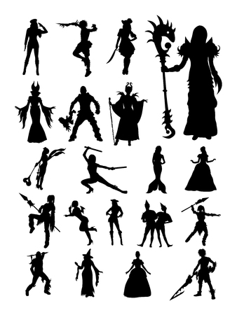 Set of cosplayer in silhouette Illustration.