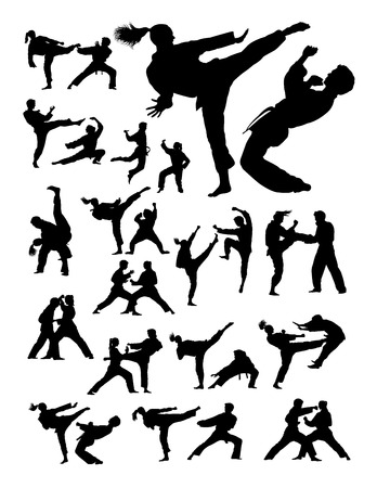 Couple exercising karate martial art silhouette.