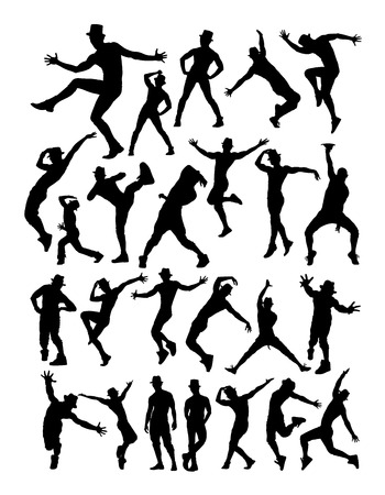 Male dancers silhouette set