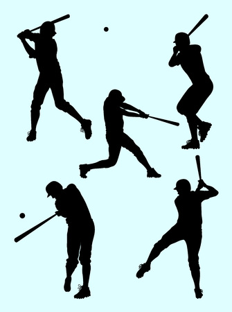 Baseball player silhouette. Good use for symbol, logo, web icon, mascot, sign, or any design you want. Vettoriali