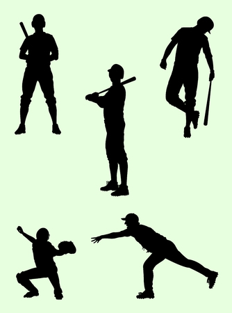 Baseball player silhouette. Good use for symbol, logo, web icon, mascot, sign, or any design you want. Illustration