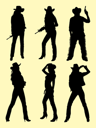 Cowboy and cowgirl silhouette vector illustration.