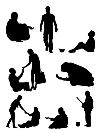 Beggar silhouette. Good use for symbol, logo, web icon, mascot, sign, or any design you want.