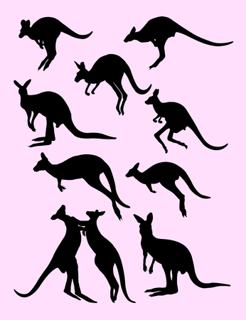 Kangaroo black silhouette. Good use for symbol, web icon, mascot, sign, or any design you want.