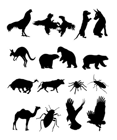 Set of animal black silhouette. Good use for symbol, logo, web icon, mascot, sign, or any design you want.