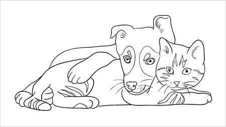 Cat and dog line art in white background. Çizim
