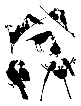Birds silhouette 02. Good use for symbol, logo, web icon, mascot, sign, or any design you want. Illustration