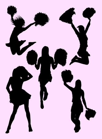 Cheerleader silhouette 01. Good use for symbol, logo, web icon, mascot, sign, or any design you want.