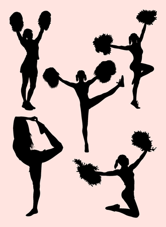 Cheerleader silhouette. Good use for symbol, web icon, mascot, sign, or any design you want. Illustration