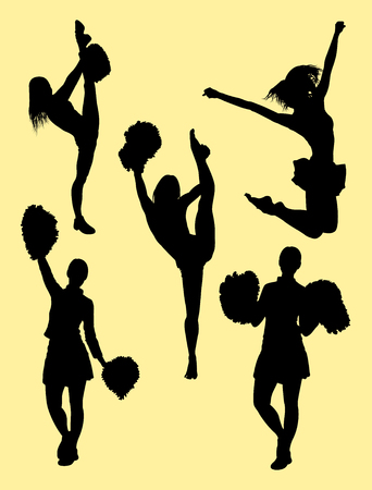 Cheerleader silhouette 04. Good use for symbol, logo, web icon, mascot, sign, or any design you want.