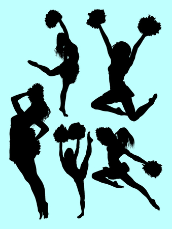 Cheerleader silhouette 06. Good use for symbol, logo, web icon, mascot, sign, or any design you want.