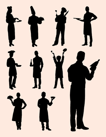 Chef silhouette icon set. Good use for symbol, web icon, mascot, sign, coloring, or any design you want. Illustration