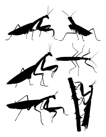 Praying mantis detail silhouette. Good use for symbol, logo, web icon, mascot, sign, or any design you want. Illusztráció