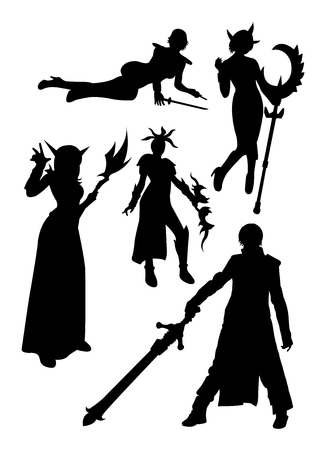 Cosplay detail silhouette 04. Good use for symbol, logo, web icon, mascot, sign, or any design you want. Ilustração