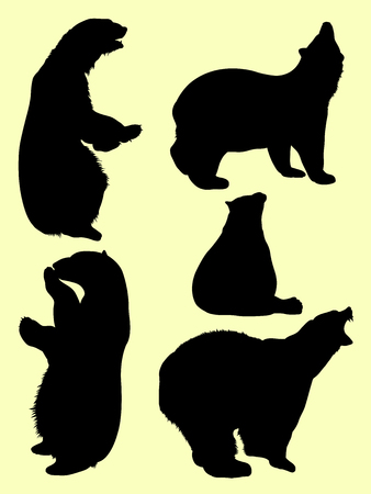 Bear animal detail silhouette 03. Good use for symbol, logo, web icon, mascot, sign, or any design you want.