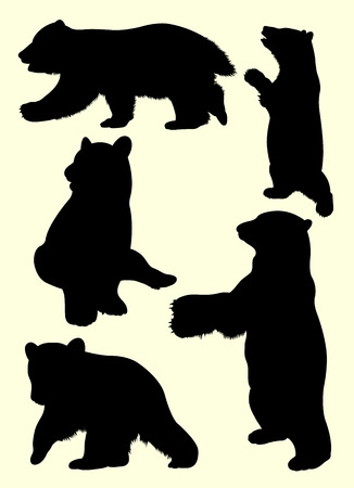 Bear animal detail silhouette 06. Good use for symbol, logo, web icon, mascot, sign, or any design you want. Çizim