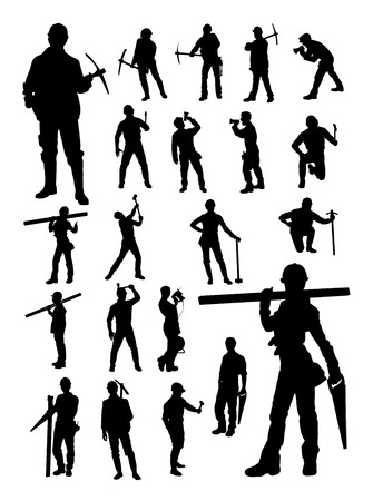 Builder silhouette. Good use for symbol, logo, web icon, mascot, sign, or any design you want.