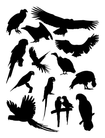 Condor and parrot silhouette. Good use for symbol, logo, web icon, mascot, sign, or any design you want. Illustration