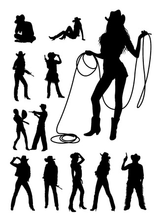 Cowboy and cowgirl silhouette Illustration
