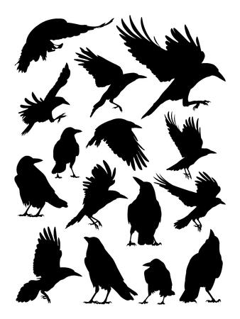 Silhouette de tour, corbeau et corbeau