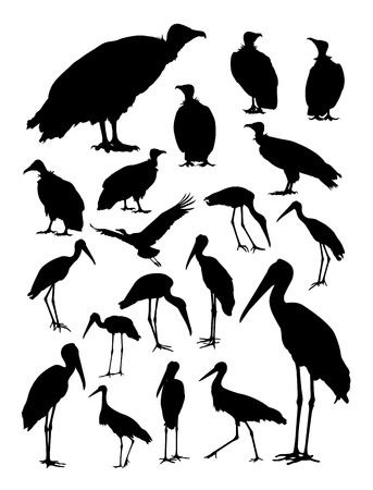 Stork and vulture silhouette. Good use for symbol, web icon, mascot, sign, or any design you want. Vettoriali