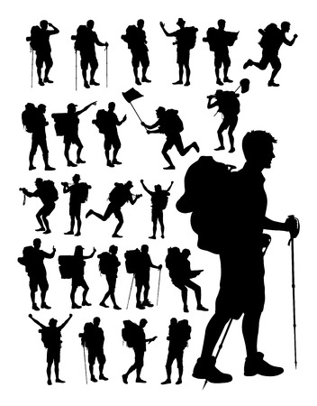 Hiker silhouettes on a white background