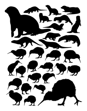 Kiwi and otter silhouettes on a white background.