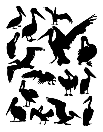 Pelican animal silhouettes on a white background