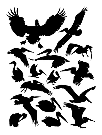Pelican silhouettes on a white background Vettoriali