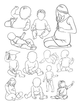 Woman and baby line art. Illustration