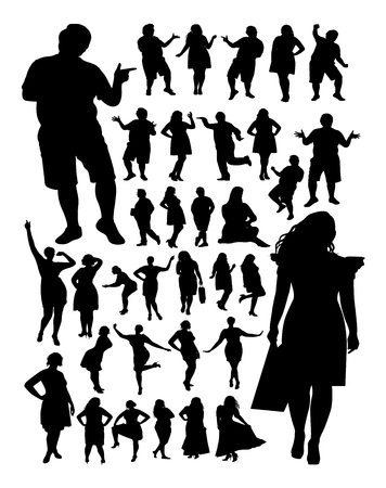 Fat people detail silhouette. Vector, illustration. Good use for symbol, logo, web icon, mascot, sign, or any design you want.