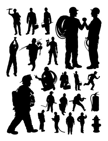 Fireman and plumber detail silhouette Illustration