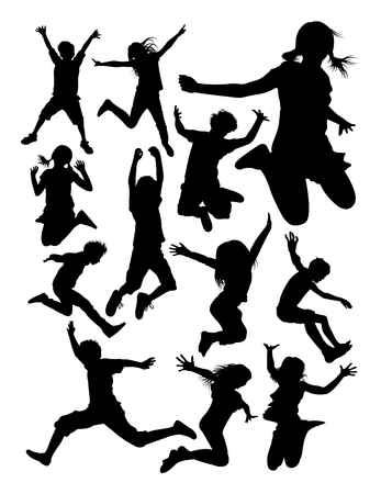 Kids jumping detail silhouette. Vector, illustration. Good use for symbol, logo, web icon, mascot, sign, or any design you want. Zdjęcie Seryjne - 100922195