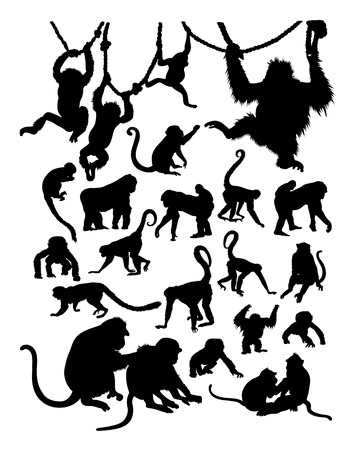 Monkey detail silhouette.  Vector, illustration. Good use for symbol, logo, web icon, mascot, sign, or any design you want.
