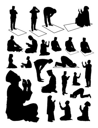 Silueta de musulmanes rezando. Buen uso de símbolo, icono, icono web, mascota, letrero o cualquier diseño que desee. Ilustración de vector