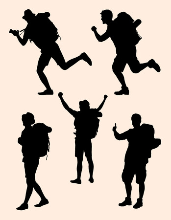 Silhouette of traveler. Good use for symbol, web icon, mascot, sign, or any design you want.