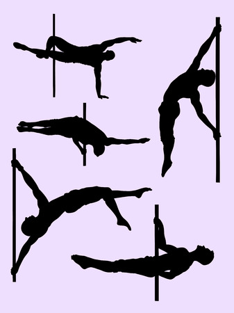 Silhouette of male pole dancer. Good use for symbol, logo, web icon, mascot, sign, or any design you want.
