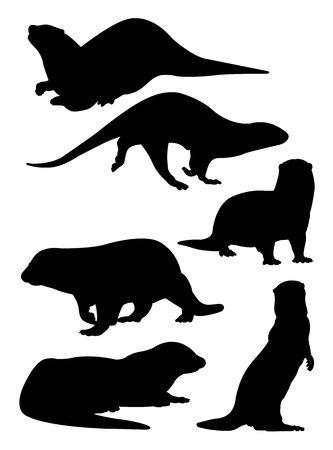 Silhouette of otter. Good use for symbol,  web icon, mascot, sign, or any design you want.
