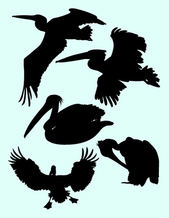 Silhouette of pelican. Good use for symbol, logo, web icon, mascot, sign, or any design you want.