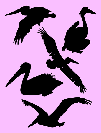 Silhouette of pelican. Good use for symbol, web icon, mascot, sign, or any design you want.