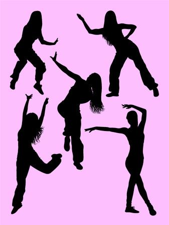 Silueta de mujer feliz bailando zumba. Buen uso de símbolo, logotipo, icono web, mascota, letrero o cualquier diseño que desee.