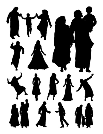 Silhouette of muslim family. Good use for symbol, web icon, mascot, sign, or any design you want.
