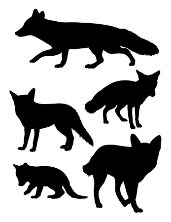 Silhouette of wolves. Good use for symbol, logo, web icon, mascot, sign, or any design you want. Ilustracja