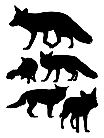 Silhouette of wolves. Good use for symbol, logo, web icon, mascot, sign, or any design you want.  イラスト・ベクター素材