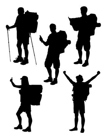 Sylwetka podróżnika. Dobre wykorzystanie symbolu, logo, ikony internetowej, maskotki, znaku lub dowolnego projektu, który chcesz.