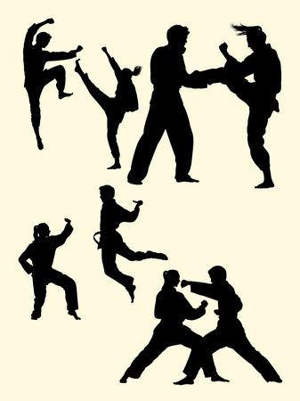 Man and woman exercise karate silhouette. Good use for symbol, logo, web icon, mascot, sign, or any design you want.
