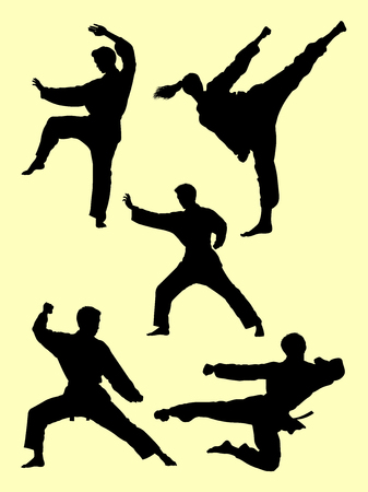 People exercise karate silhouette. Good use for symbol, logo, web icon, mascot, sign, or any design you want.