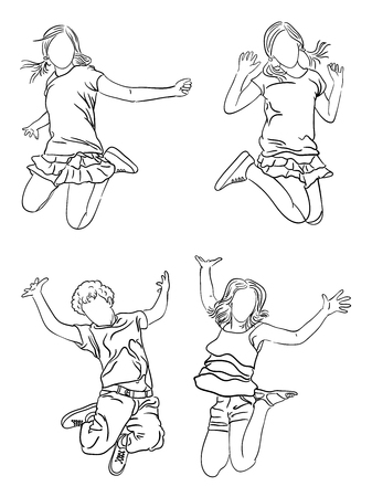 Happy kids line art. Good use for symbol, coloring book, logo, web icon, mascot, sign, or any design you want.